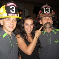 Captain Wines and the Fire Critic with a fan